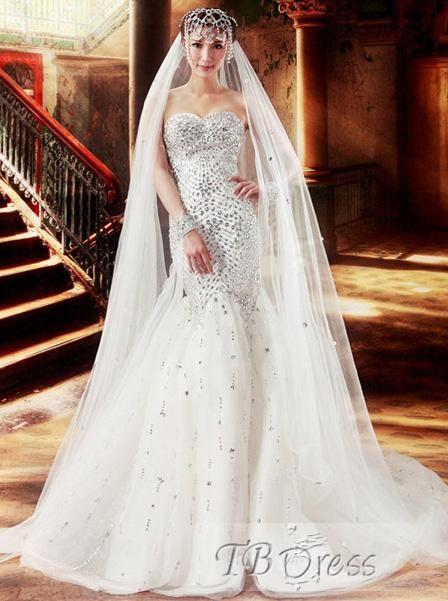 Awesome Trumpet/Mermaid Sweetheart Beading Floor-length Court Train Wedding Dress