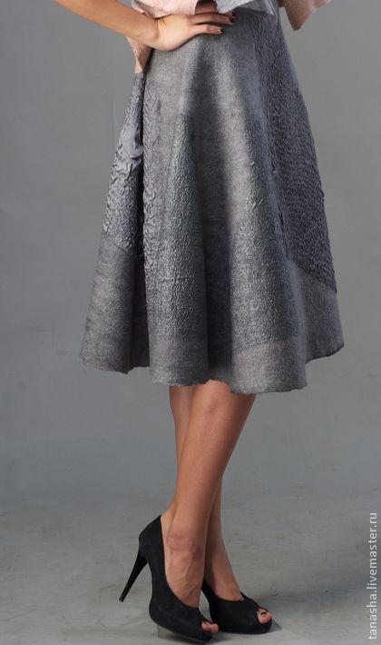 "Skirt handmade.  Fair Masters - handmade felted Skirt ""Grey with a secret.""  Handmade."