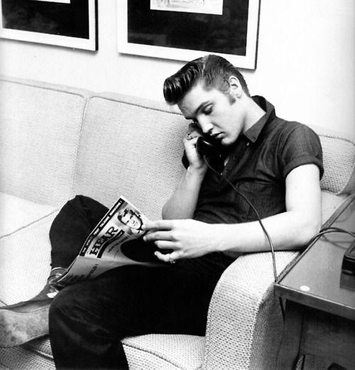 Elvis on the phone [1956]  Via 30.media.tumblr