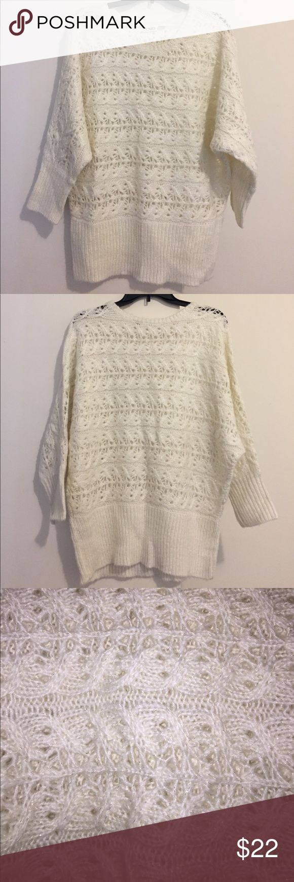 Cato Cream Sweater Cato cream sweater, size XLarge. Has glitter thread detail. Cato Sweaters Crew & Scoop Necks