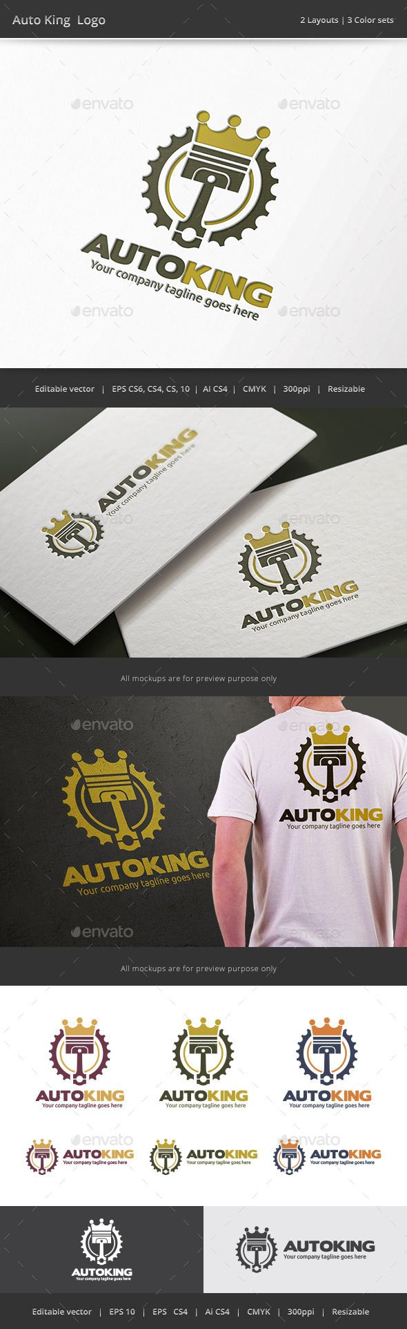 Auto King Piston Logo — Vector EPS #automobile #piston • Available here → https://graphicriver.net/item/auto-king-piston-logo/9454454?ref=pxcr