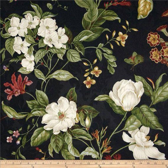 Fabric Shower Curtain Waverly Garden Images Black 72 X 72