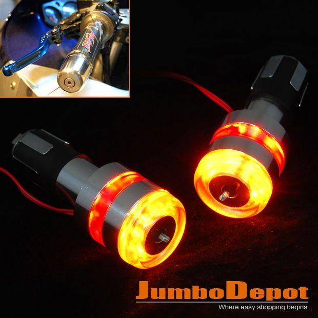 7/8'' Motorcycle Handle Bar End LED Plug Turn Signal Light Amber&Red For Honda
