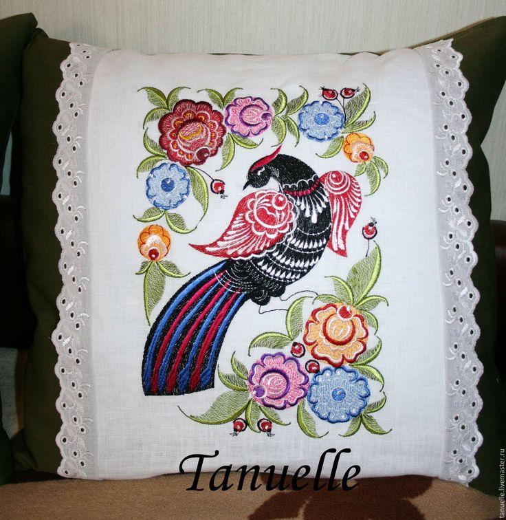 Купить Подушки диванные декоративные Городецкая птица - подушка диванная, подушка декоративная, подушка с вышивкой