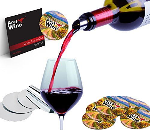 Arcs Wine Pourer Disc Set of 12  Best Drip Stop Pour Spouts  Thin and Flexible Drop Stopping Disks *** You can get additional details at the image link.