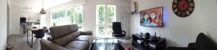 Appartement composé d'une entrée d'une cuisine ouverte sur le séjour, deux chambres salle de bains WC cellier Surface CARREZ : 83 m²