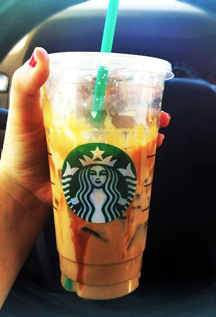 Meet the greatest drink ever invented. It will cheer you up when you are feeling down. It's the: Iced Skinny Caramel Latte w/ soy milk + caramel drizzle. Venti (150 cal) Grande (120 cal) Tall (100 cal)