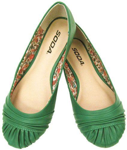 Loving pops of Kelly green. Goalie Kelly Green Ruched Vegan Ballerina Flats #shoes