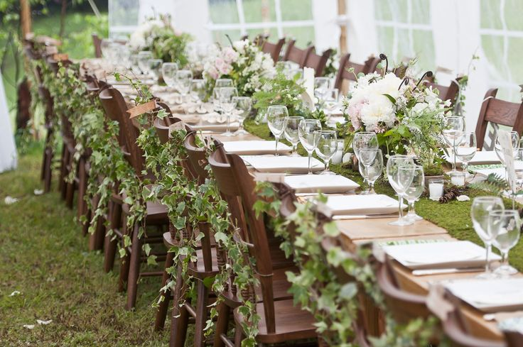 Ivy-covered seating and moss table runner. Maybe use burlap table runner. Koru Wedding Style: {Real Enchanted Forest Wedding} Rebecca & Robert