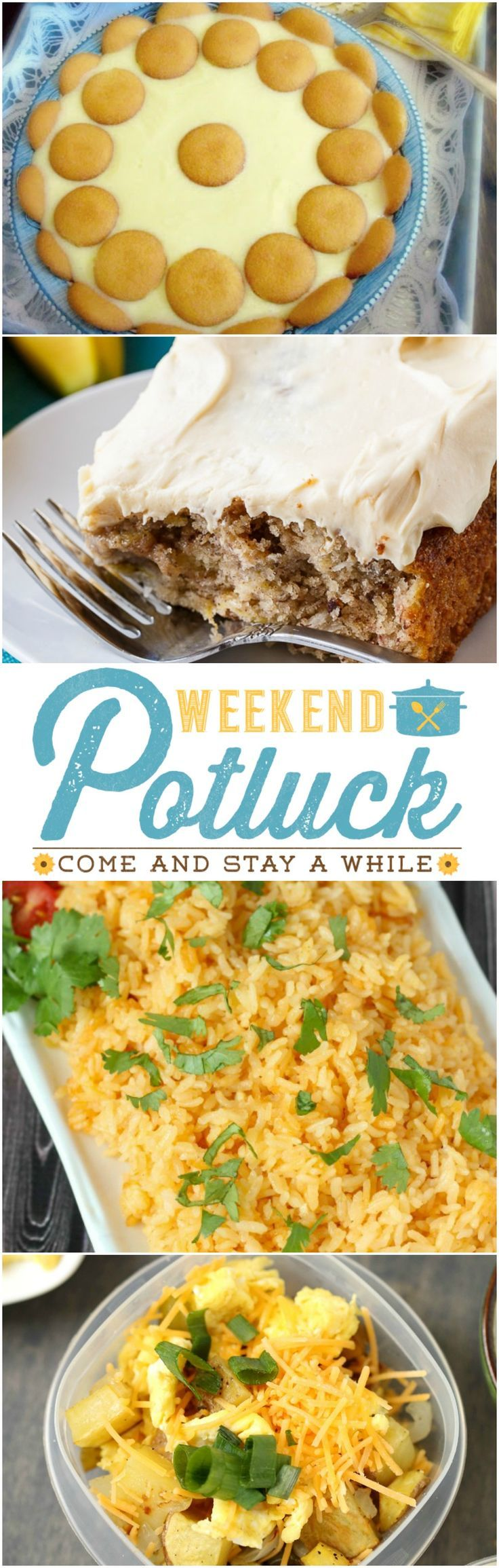 Featured recipes at Weekend Potluck include: One Layer Hummingbird Cake, Daddy's Lemon Icebox Pie, Restaurant Style Mexican Rice and Make Ahead Breakfast Bowls