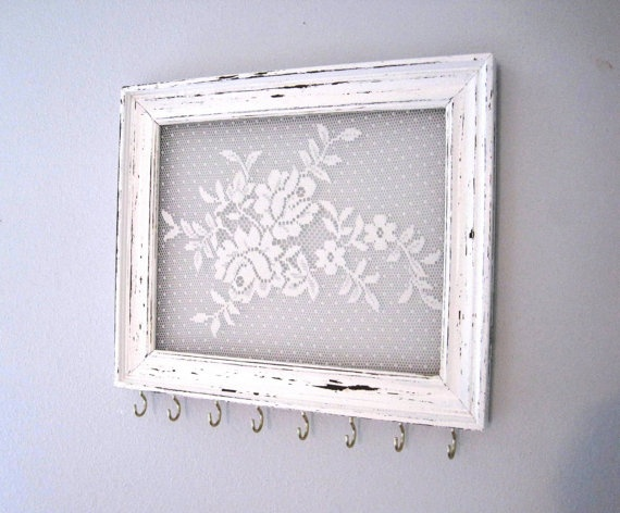 Jewelry Hanger Accessory Organizer / White Flower Lace Hooks / Distressed Frame…