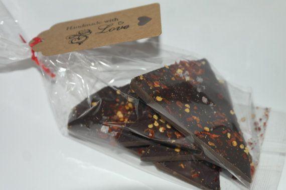 Dark chocolate Chilli Bark 100gram  Wedding by SweetieLoveUK