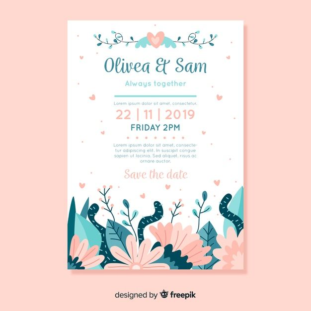 Download Flat Design Wedding Invitation Template With Flowers For Free Wedding Invitation Vector Wedding Invitation Templates Wedding Invitation Design