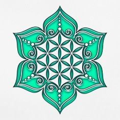 Flower of life, Lotus - Flower, Heart Chakra, green, Symbol of perfection and T-Shirts