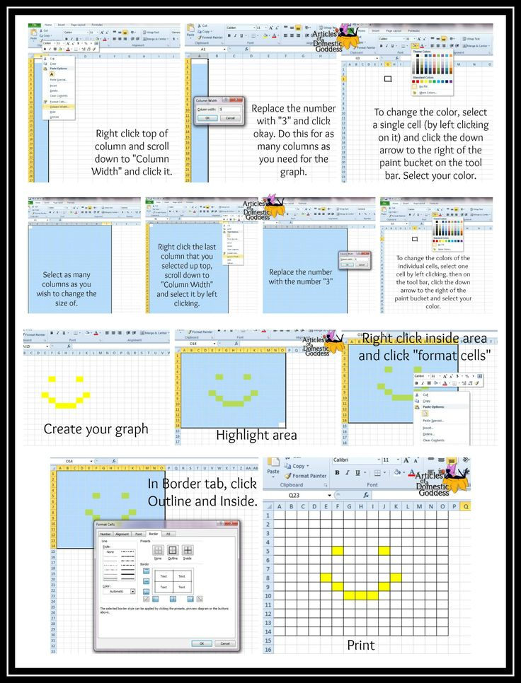 How to create a crochet graph using excel! Detailed instructions on how to print out beautiful graphs without having to buy graph paper! http://articlesofadomesticgoddess.com/2015/03/how-to-make-graph-paper-in-excel/