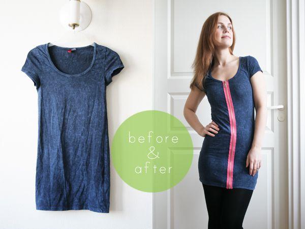Pearls & Scissors: tutorial Adding a zipper to a t-shirt dress
