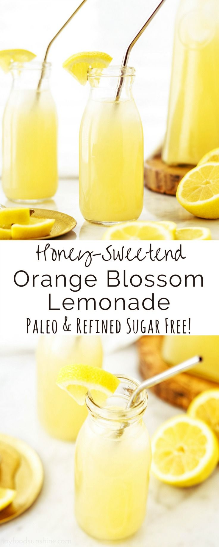 - Honey-Sweetened Orange Blossom Lemonade -   This Honey-Sweetened Orange Blossom Lemonade is made with only four ingredients and comes together in less than 5 minutes {with the help of a Vitamix}! If you don't have a Vitamix, you can use another high powered blender. I have also included stovetop direction in the recipe!  via: @joyfoodsunshine