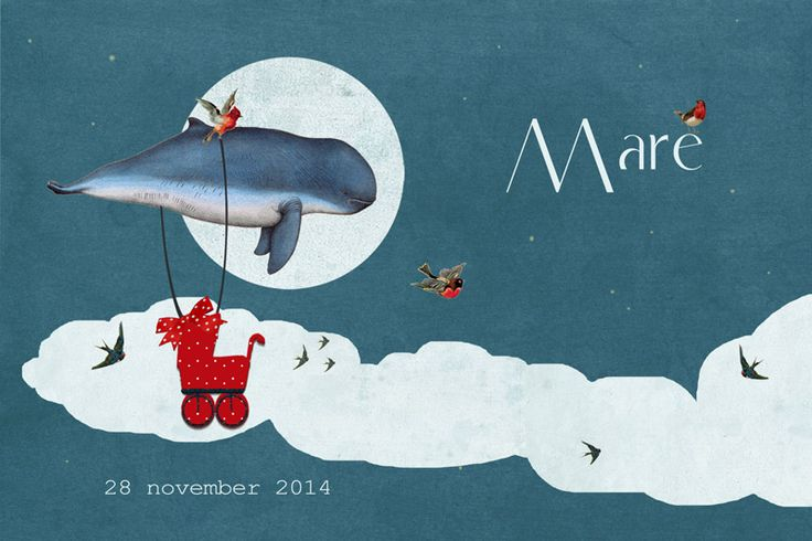 Geboortekaartje Mare - voorkant - walvis in de wolken - Pimpelpluis - https://www.facebook.com/pages/Pimpelpluis/188675421305550?ref=hl (# walvis - wolk - vogel - koets - blauw - rood - speciaal - zee - origineel)