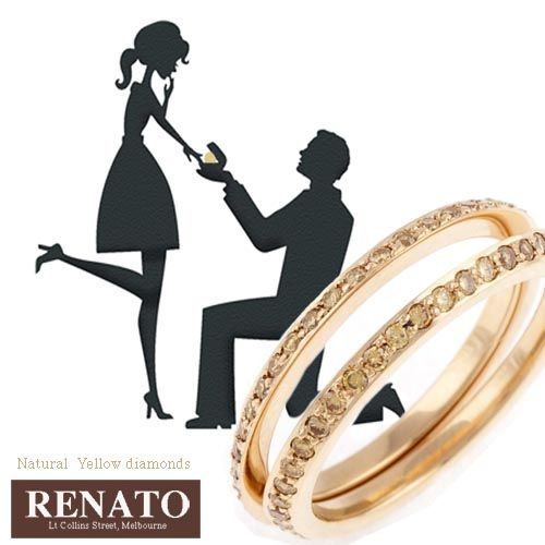 Split wedding rings with natural yellow diamonds available from Renato designer jewellers. call 03 9662 4422