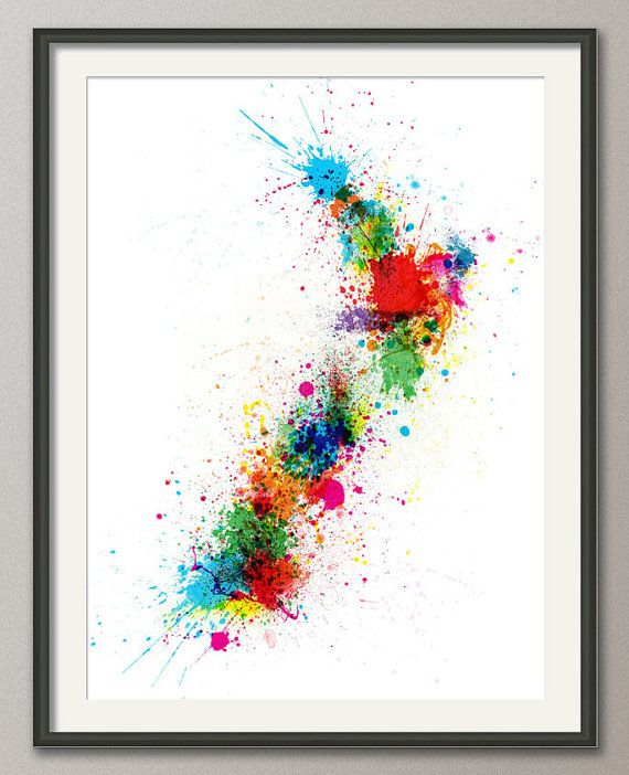 New Zealand Paint Splashes Map Art Print 18x24 inch by artPause