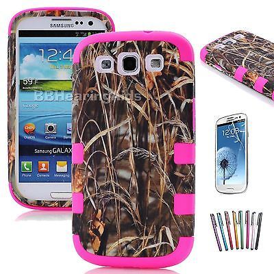Hybrid Straw Grass Camo Phone Case Cover For Samsung Galaxy S3 III i9300