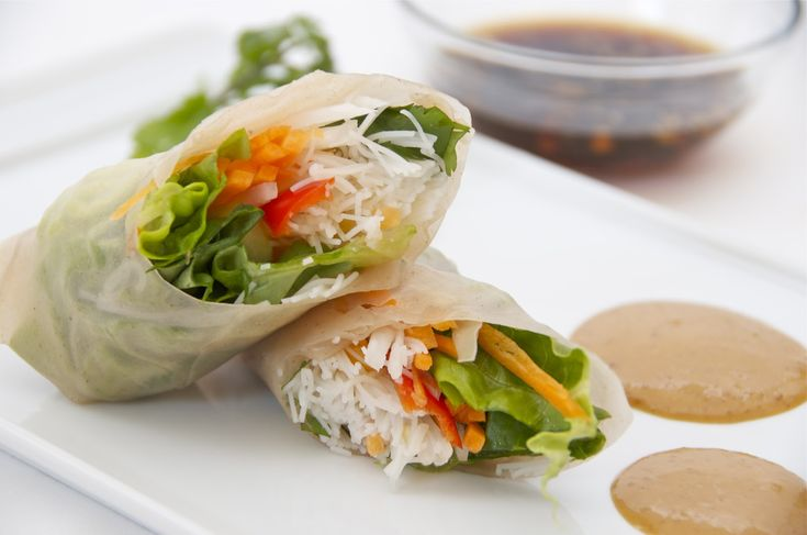 Vegetable Spring rolls with Spicy Peanut Sauce and Garlic Sauce - Delights Of Culinaria