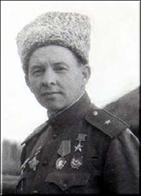 Colonel-General Kuzovkov Ivan Alexandrovich (1903-1989), Soviet military leader, a participant in the WWI, the Civil and the Great Patriotic (WWII in Russia) wars, the Hero of the Soviet Union. Commanded of the 69th Rifle Division (1943), the 95th Rifle Corps (1943-1944), the 106th Rifle Corps (1944 - wounded).