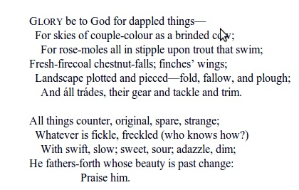 Pied beauty by gerard manley hopkins essay