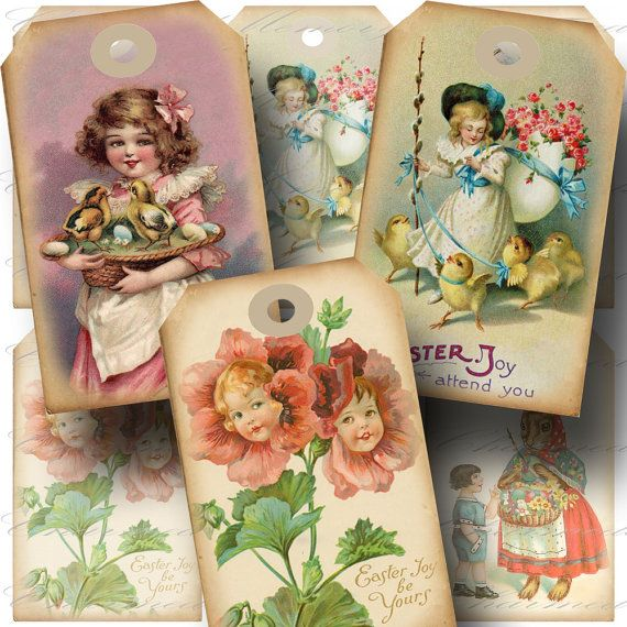 Vintage Easter Hang Tag 3 Printable by CharmedMemoryCollage, $3.50