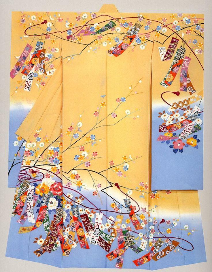 Kimono Nagoya. Kaga-Yuzen Furisode