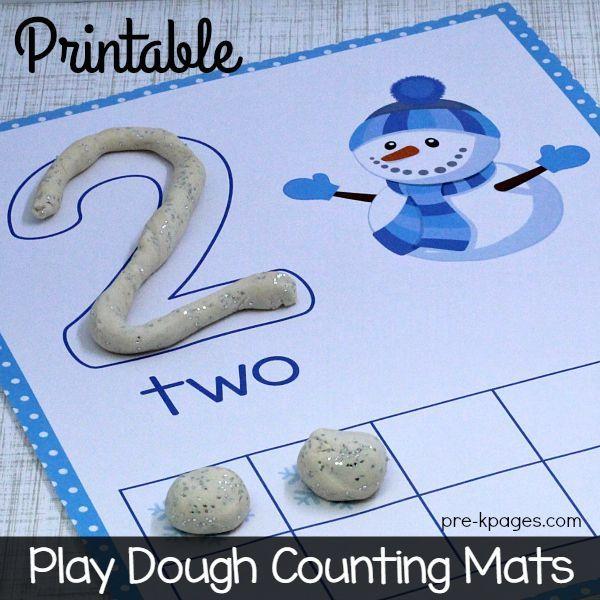 Printable Winter Play Dough Counting Mats for Preschool