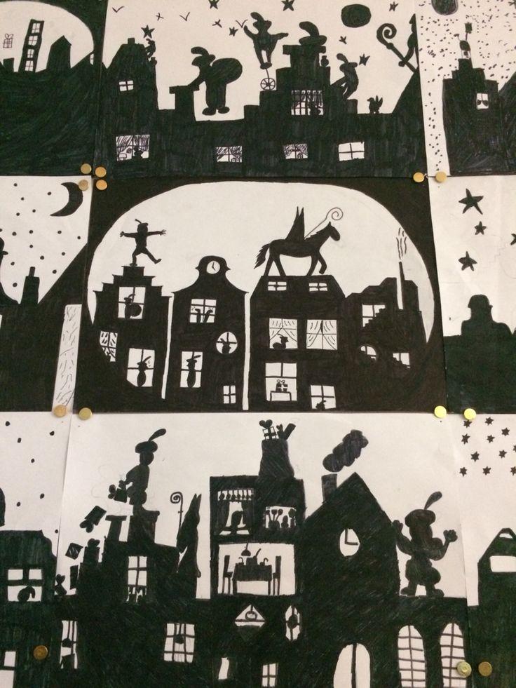 Silhouetten Sinterklaas. Gemaakt door groep 8 van O.B.S. de Wilgenhoek uit Haarlem