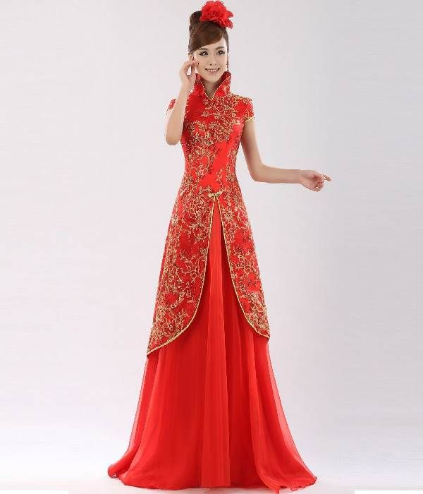 Traditional chinese wedding dress women dress ideas for Asian red wedding dresses