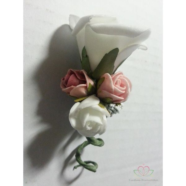 Corsage Roos Wit +3kleur mini