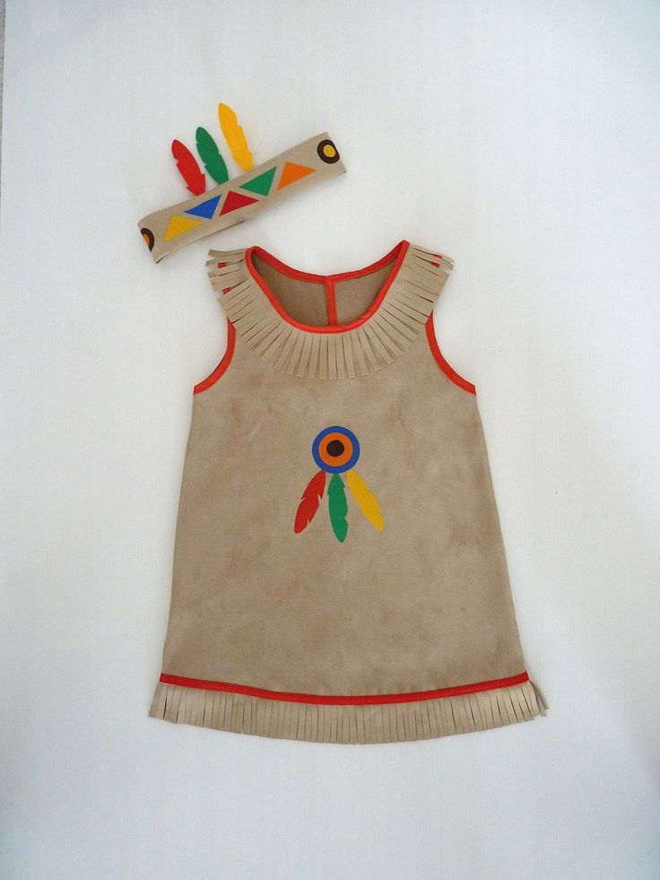 Déguisement taille 4-5 ans robe d'indienne et son bandeau : Ecole et loisirs par la-fee-brochette