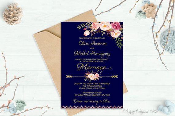 Boda azul marino invitación imprimibles oro bodas florales de