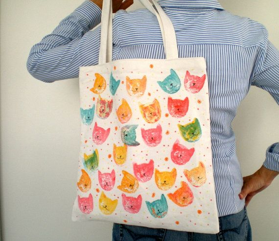 Cyber Monday Cotton  Tote Bag  Handpainted Pop Art by ShebboDesign, $28.00