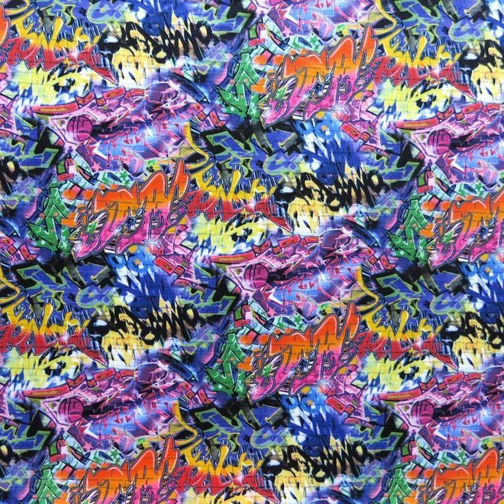 The Fabric Fairy Graffiti Nylon Spandex Swimsuit Fabric