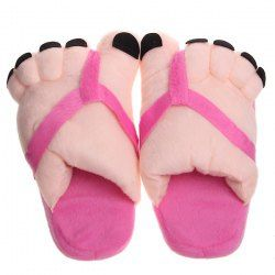 $5.37 Warm Plush Big Feet Pattern Indoor Slippers for Winter