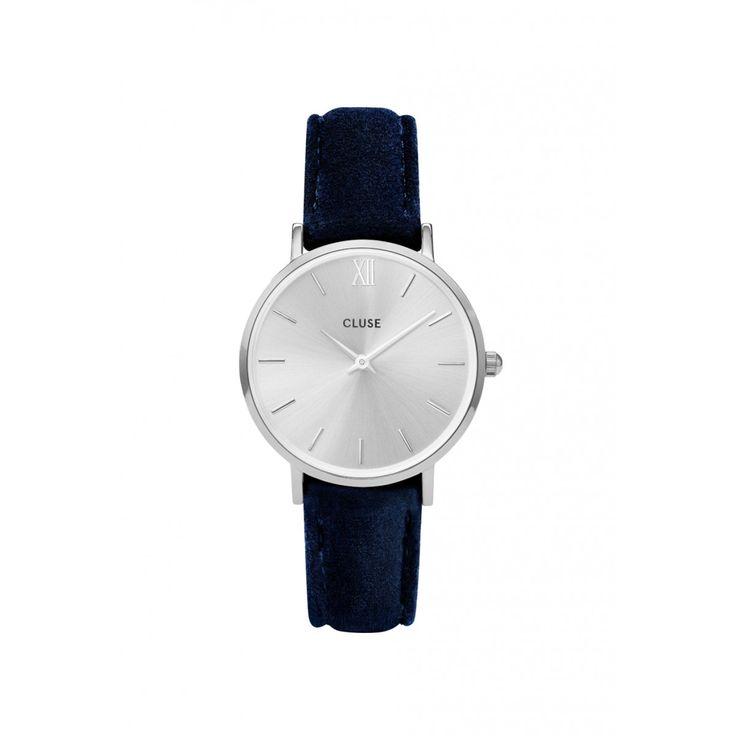 Cluse Minuit Horloge Zilver Blauw Fluweel   Fabriq