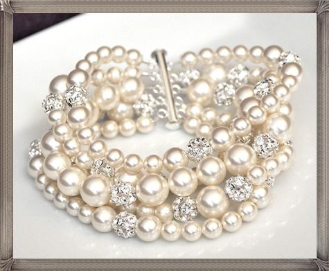 chunky pearl necklace wedding | Pearl-Cuff-Bracelet-Chunky-Wedding-Bracelet-Rhinestone-Pearl-Bracelet ...