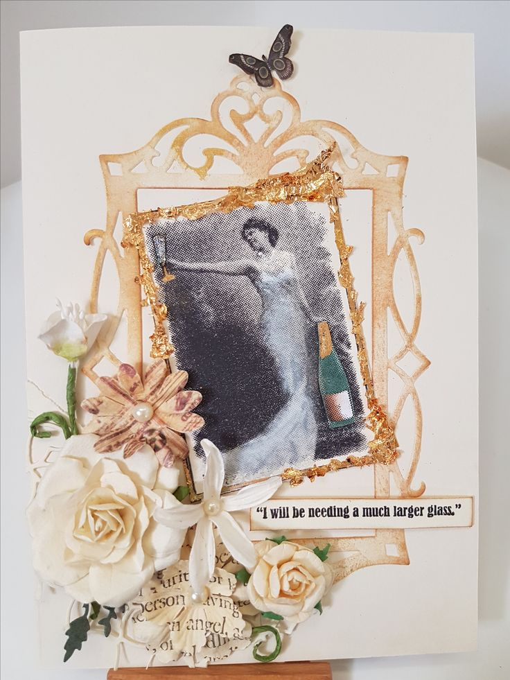 Larger Glass stamp 94842X by Inkadinkado; Fancy Rectangle Sizzix Frame 658948. Card by Susan of Art Attic Studio