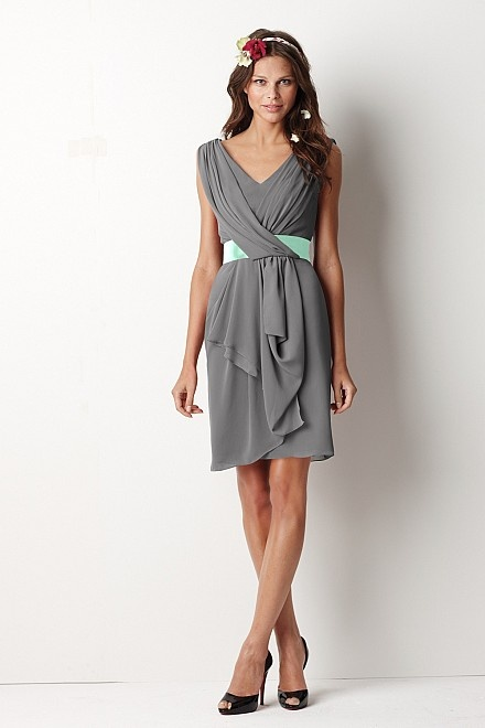 Grey Bridesmaid Dress, the light blue middle would go nice with mine... I would add a soft pink ribbon instead of blue