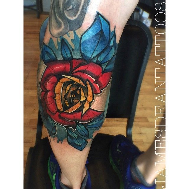Colorado Flag Rose Tattoo