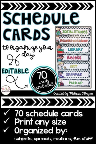 This black and white chevron set of editable classroom schedule cards will add style to your daily schedule board. This set currently contains 70 schedule cards that you can print (cards are mostly black and white to help you save on your color printer ink), cut, laminate and place into a schedule pocket chart or on a bulletin/white board to organize your day.