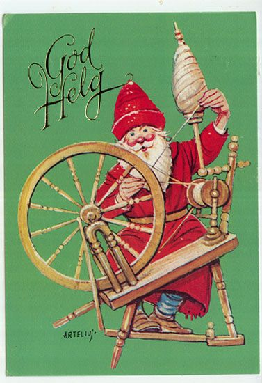 Christmas postcard NISSE spinning wheel Sweden.  Santa, you're doing it wrong!
