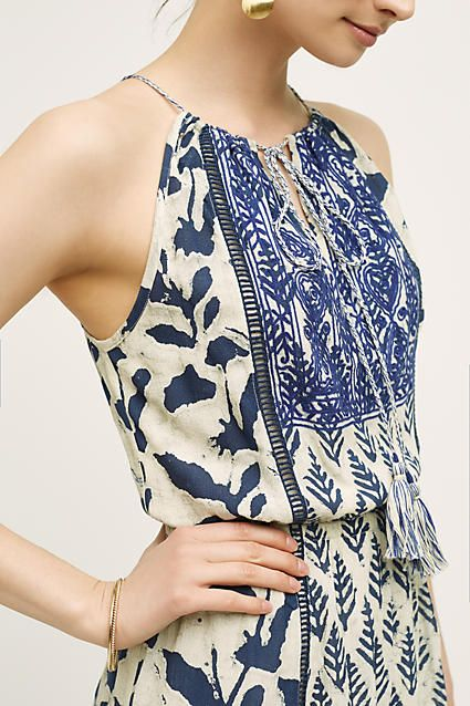 Love the batik style block print and the blue and white.