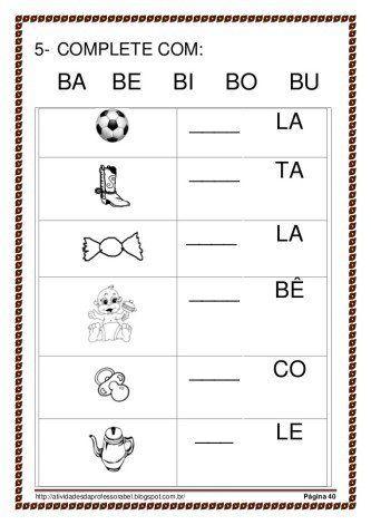 dicas de sílabas com ba be bi bo bu Mais