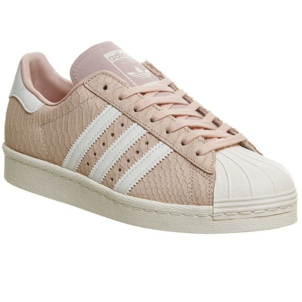 Adidas Superstar 80s (1.695 ARS) ❤ liked on Polyvore featuring shoes, sneakers, blush pink off white, trainers, unisex sports, pink shoes, adidas trainers, 80s shoes, pink sneakers and snake shoes