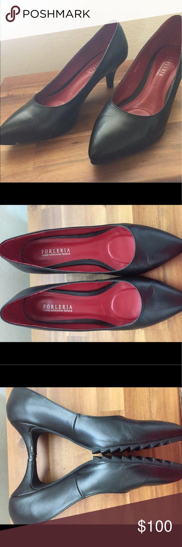 Forleria Italian black pumps with red soles sz 37 Forleria new black pumps with red sole, size 37 made in Italy. forleria Shoes Heels